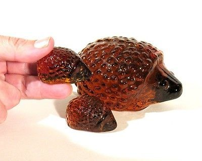 Vintage Amber Glass Hedgehog Figurines Sweden Eneryda Swedish