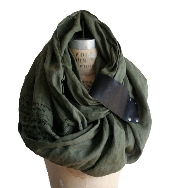 army linen unisex scarf  leather poetry scarves shawl  by artlab