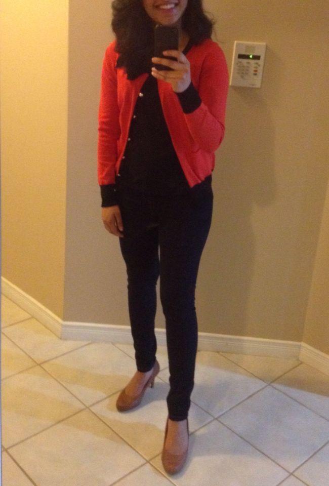 Fall Thanksgiving outfit  - Pumpkin orange cardigan, dark navy jeans, and tan heels