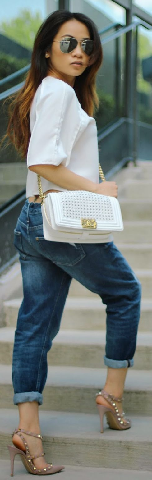 Chanel White Textured Leather Crossbody Bag, boyfriend jeans, Valentino stud heels