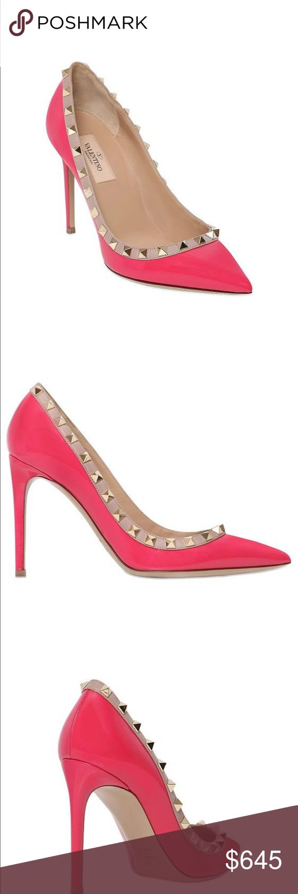 "⚡SALE⚡NEW ROCKSTUD VALENTINO PUMPS Valentino Garavani leather pump with napa trim. 4"" covered heel. Size 39 in like a fuscia color. Color will vary due to lighting.  Pointed toe. Signature Rockstuds around collar. Low-cut vamp. Slip-on style. Smooth outsole. Leather lining and insole. Made in Italy. Valentino Shoes Heels"