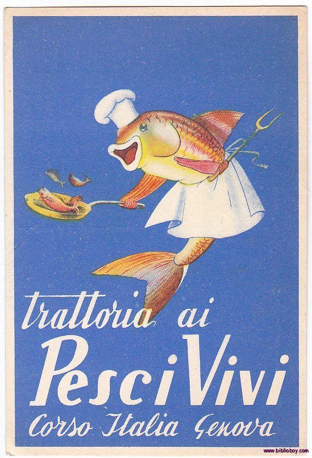 An Original 1960's Italian Advertising Postcard Great vintage Illustration Genova, Liguria #riviera #acquario www.varaldocosmetica.it