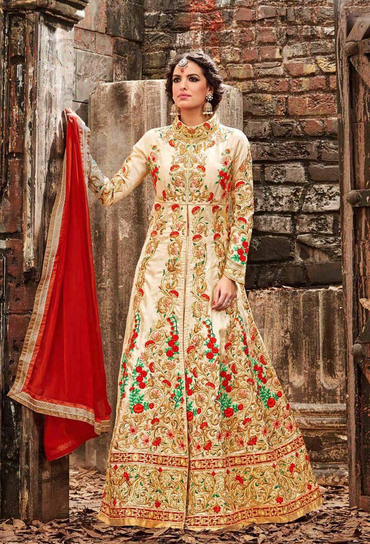 Semi Stitched Beige Achkan Style Salwar Kameez  #Georgette #Achkan #Style #Salwar #nikvik #usa #australia #wedding #canada #nikvik #usa #designer #australia #canada #stylish  #FreeShipping  Price-US$128.71