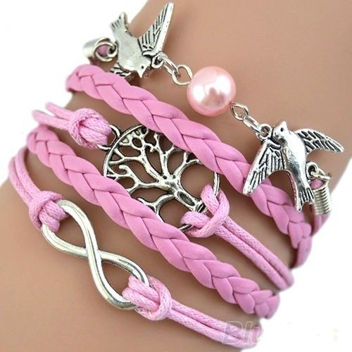 Lovely pink leather bracelet with motives via Freaks4fashion Online Store. Click on the image to see more!