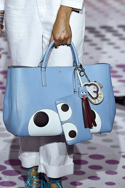 Handbag Sky - This season's theme was school girl customisation, Anya's childhood habit for sticking stickers on her school books was immortalised in leather; has accessorising your bag with stickers it seems have knocked the fluffy bag bug off the trend top spot next season? spring/summer 2015 16 SEPTEMBER 2014 Laura Weir for Vogue