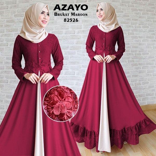 azayo maroon Rp132rb maxi tgn pjg busui kancing, pinggang blkg karet, spandex korea kombi brukat, TANPA pashmina, ld 94 pjg 138 lb 300 berat 700gram  contact us  FB fanpage: Toko Alyla  line@: @alylagamis  WA: 0812-8045-6905    toko online baju muslim  gamis murah  hijab murah  supplier hijab  konveksi gamis  agen jilbab