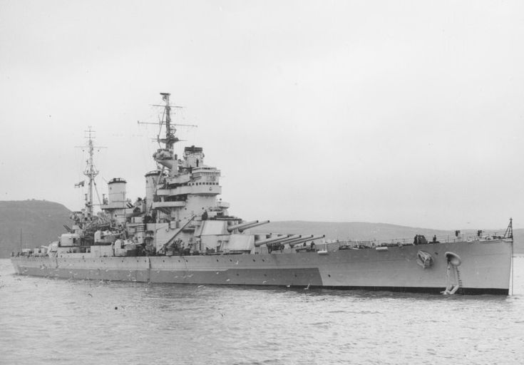14 in battleship HMS Anson, sister of King George V (see nearby) at Plymouth, 1945.