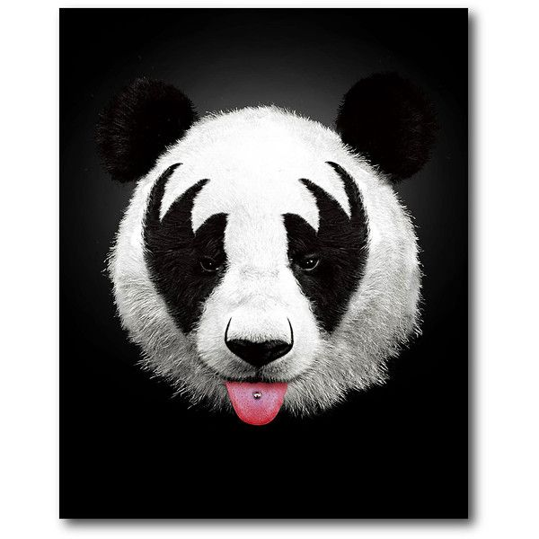 Courtside Market Panda Rocks Wrapped Canvas ($35) ❤ liked on Polyvore featuring home, home decor, wall art, canvas wall art, canvas home decor, panda wall art and rock wall art