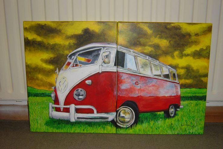 VW camper van - acrylic on canvas