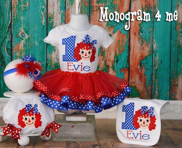 Raggedy Ann Birthday tutu set, Doll birthday tutu, First birthday tutu set, Bib, Bloomers, headband by monogram4me on Etsy https://www.etsy.com/listing/497717422/raggedy-ann-birthday-tutu-set-doll