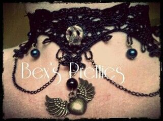 Black lace winged heart choker with chains. Gorgeous!