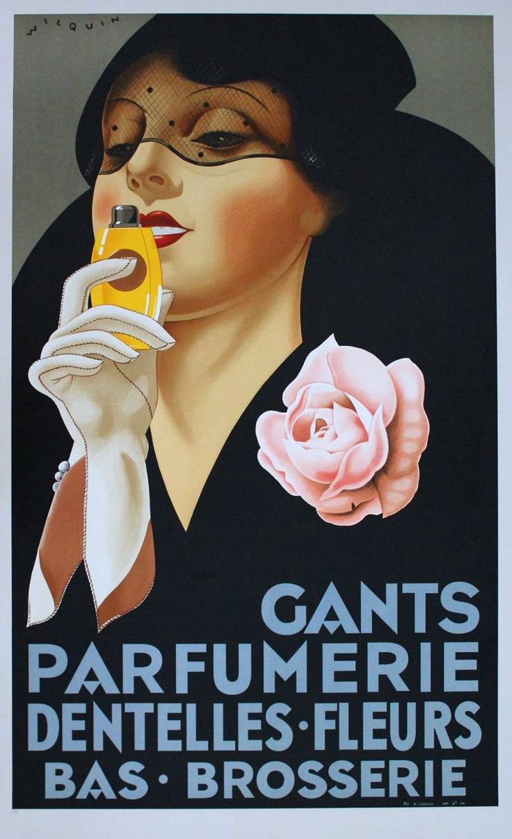 ... Gants Parfumerie Wilquin Hand Pulled Lithograph Art Deco Vintage Beauty…