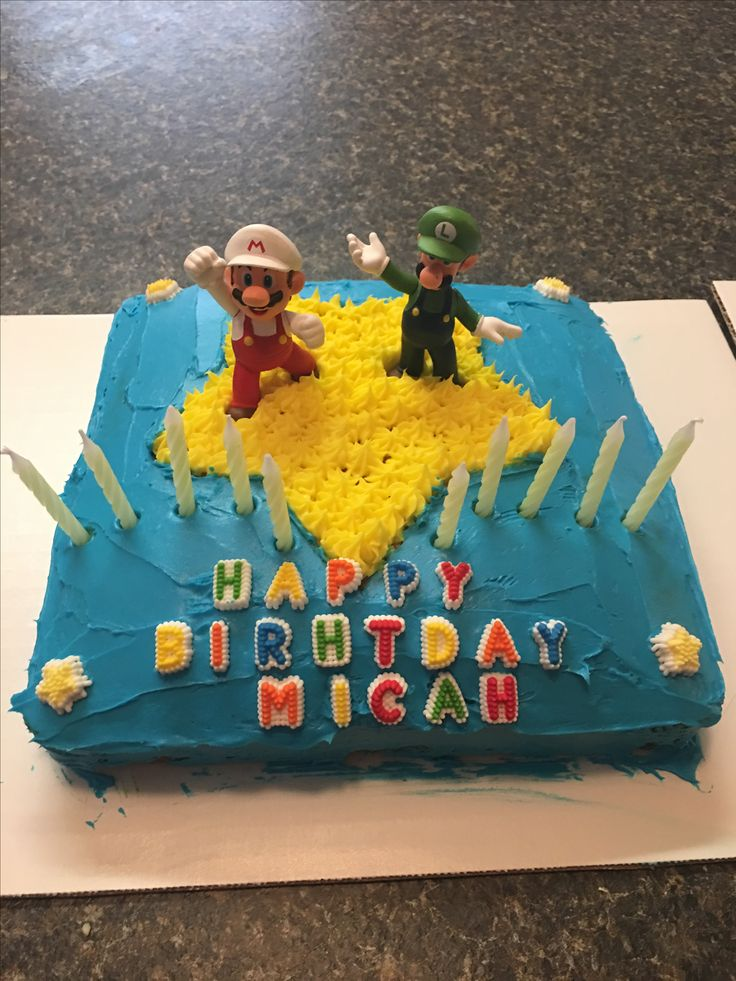 My son wanted another Mario cake for his birthday this year. This time we did the star as the design. He loved it.