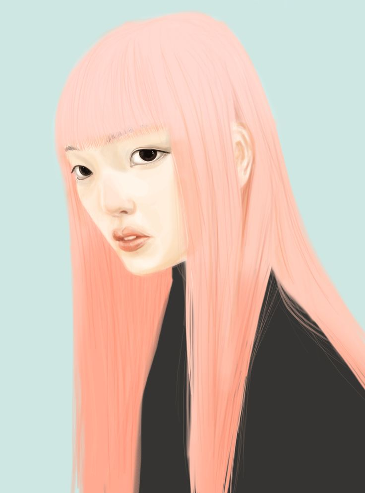 inspired by Vanessa Jackman  http://vanessajackman.blogspot.com/2015/03/paris-fashion-week-aw-2015fernanda.html #pinkhair #digital #painting #hairenvy