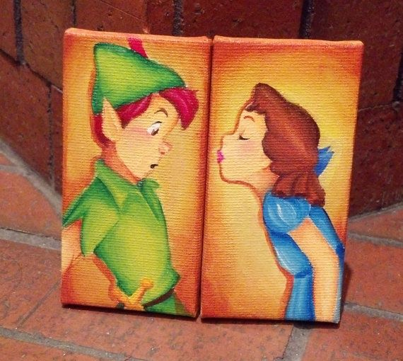 Custom Disney Canvas Set Of Two Made To Order Peter Panhow About A Kiss