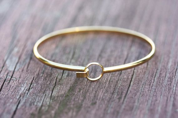 Gold Wire Bracelet  Circle Hook by diamentdesigns on Etsy, $18.00