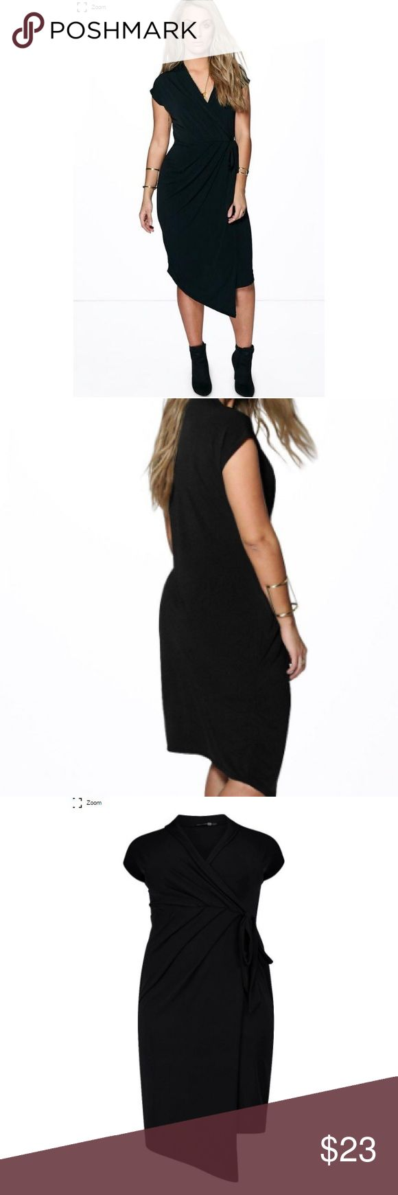 Plus Size Boohoo Front Wrap Black Dress Brand new with tags adorable front wrap boohoo black dress. Cute plus size dress that is perfect for work or a night out on the town. Boohoo Dresses Midi