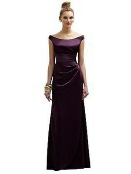 Dark Purple bridesmaid dress - Full length off the shoulder renaissance dress with asymmetrical pleated bodice and side skirt