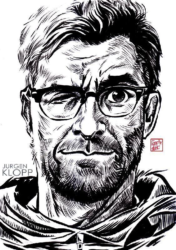 Jurgen Klopp Liverpool manager  : Liverpool player : Liverpool FC : black pen drawing Illustration #Liverpool #TheKopArtsStudio #liverpoolfc #football #thisisanfield #lfc #lovelfc #ynwa #picoftheday #matchday #art #drawing #Illustration