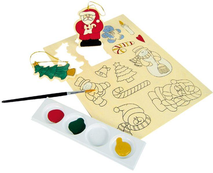 CréaPause vous propose en bricolage de Noël cette planche de 12 formes en bois prédécoupées à peindre et customiser et à accrocher au sapin de Noël