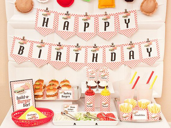 BURGER-n-FRIES Birthday Collection - Printable Barbecue Décor via Etsy