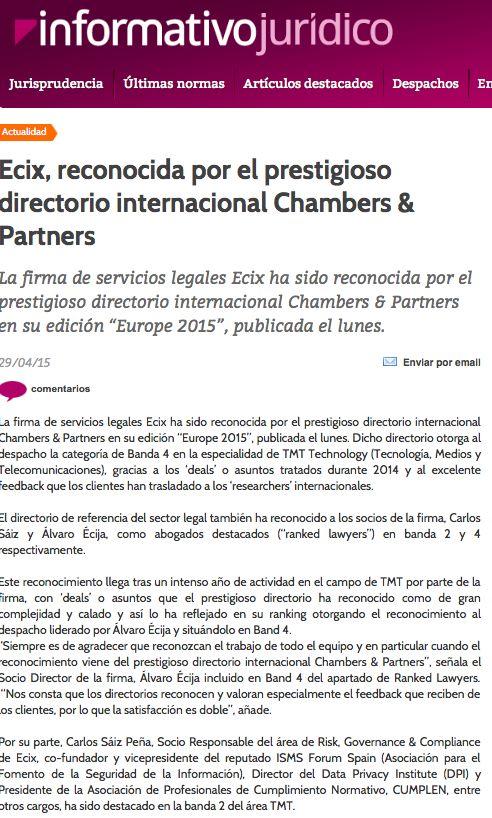 Informativo Jurídico también se hace eco de la noticia sobre el reconocimiento de nuestro despacho, por el directorio #Chambers & Partners en la especialidad de TMT #Technology.