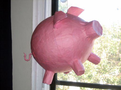 Papier Mache Pig Pinata - Pink