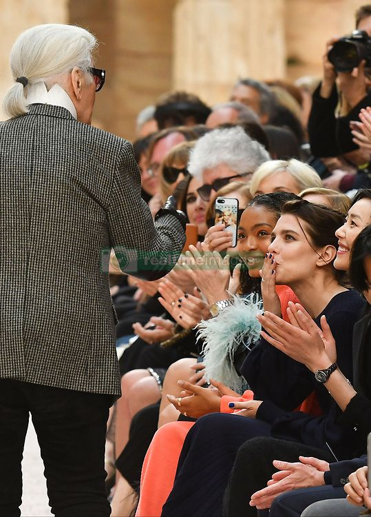 Charlotte Casiraghi blows designer Karl Lagerfeld a kiss during the Chanel Cruise 2017/2018 Collection at Grand Palais on May 3, 2017 in Paris, France. Photo by Laurent Zabulon/ABACAPRESS.COM