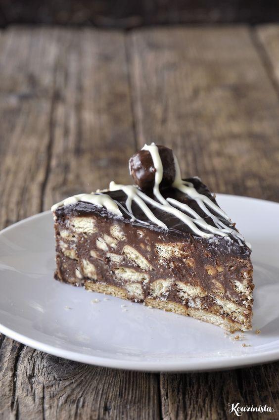 Εύκολη τούρτα μωσαϊκό με πραλίνα φουντουκιού / Chocolate nutella fridge cake