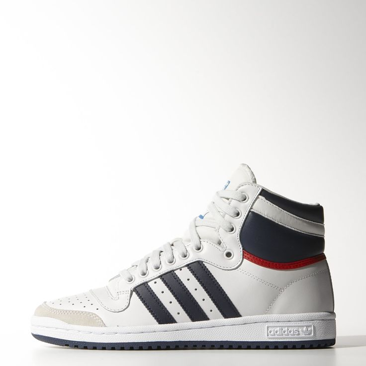 The men's Top Ten Hi shoes take to the streets with synthetic 3-Stripes and