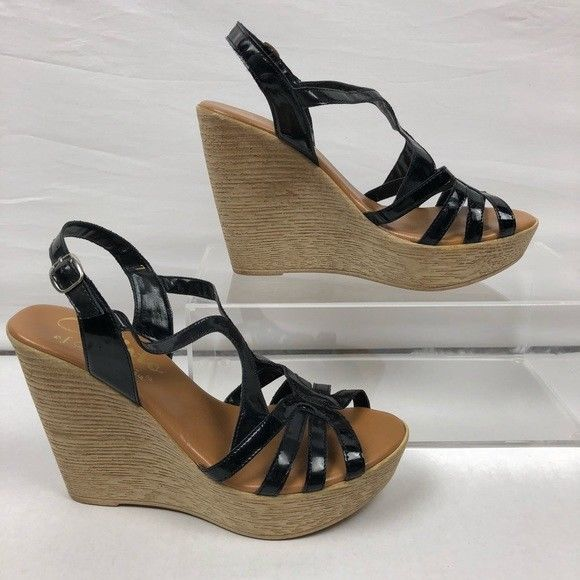 Patent Size Leather Black Wedge 7 Callisto Sandals High Shoes Straps 4j3ARqcS5L