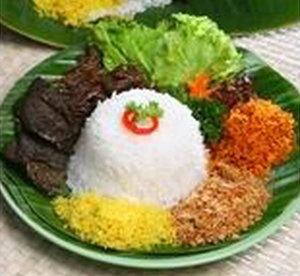 Nasi Krawu, special mixed rice from Gresik, Indonesia