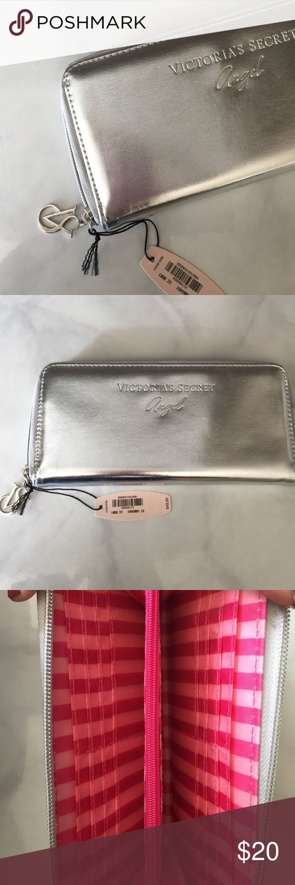 Victoria Secret Silver Clutch Bag with Card Holder Brand New Never Used with tags Victoria's Secret Bags Clutches & Wristlets