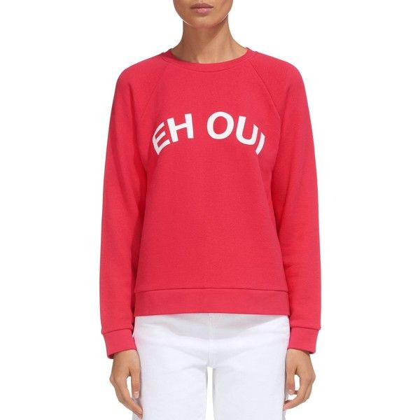 Whistles Eh Oui Graphic Sweatshirt ($170) ❤ liked on Polyvore featuring tops, hoodies, sweatshirts, pink, graphic sweatshirts, red top, graphic print top, whistles tops and pink tops