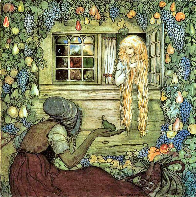 "Alvida's Window, by John Bauer. ""Alvida did not touch any of the fruit herself. She let it fall, piece by piece, and tired and thirsty travelers came along, picked up a pear or an apple, and blessed the gift."":"