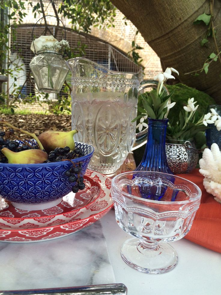 Decorative glassware and layering of bowls and plates