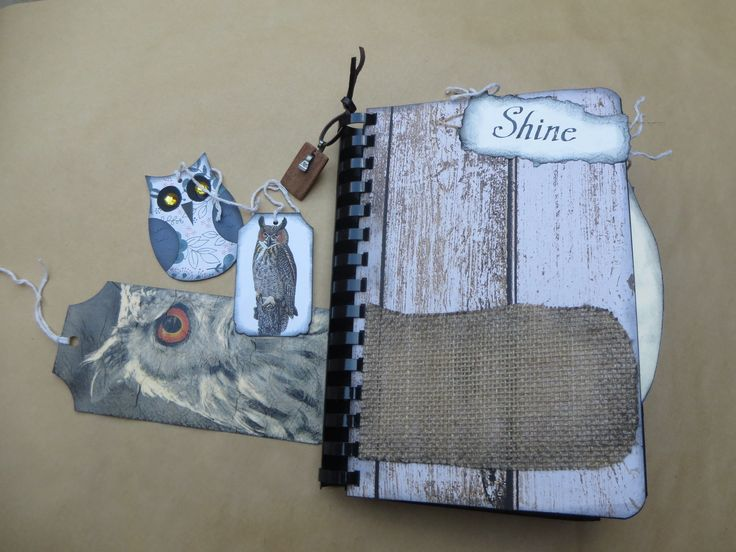 Owl Handmade Junk Journal Handmade Owl Tags Scrapbook Smash book Notebook Sketchbook Napkin Covered Tags Handcrafted Gift for Anyone by Maroonmanx on Etsy