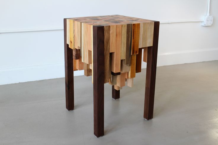 End grain table was made almost entirely with scrap wood.