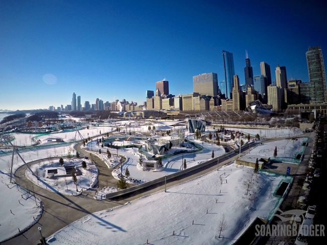 Drone Flight over a Wintery Chicago 2015