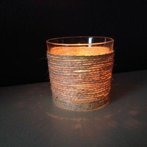 DIY waxinelichthouder met touw van oud glazen potje