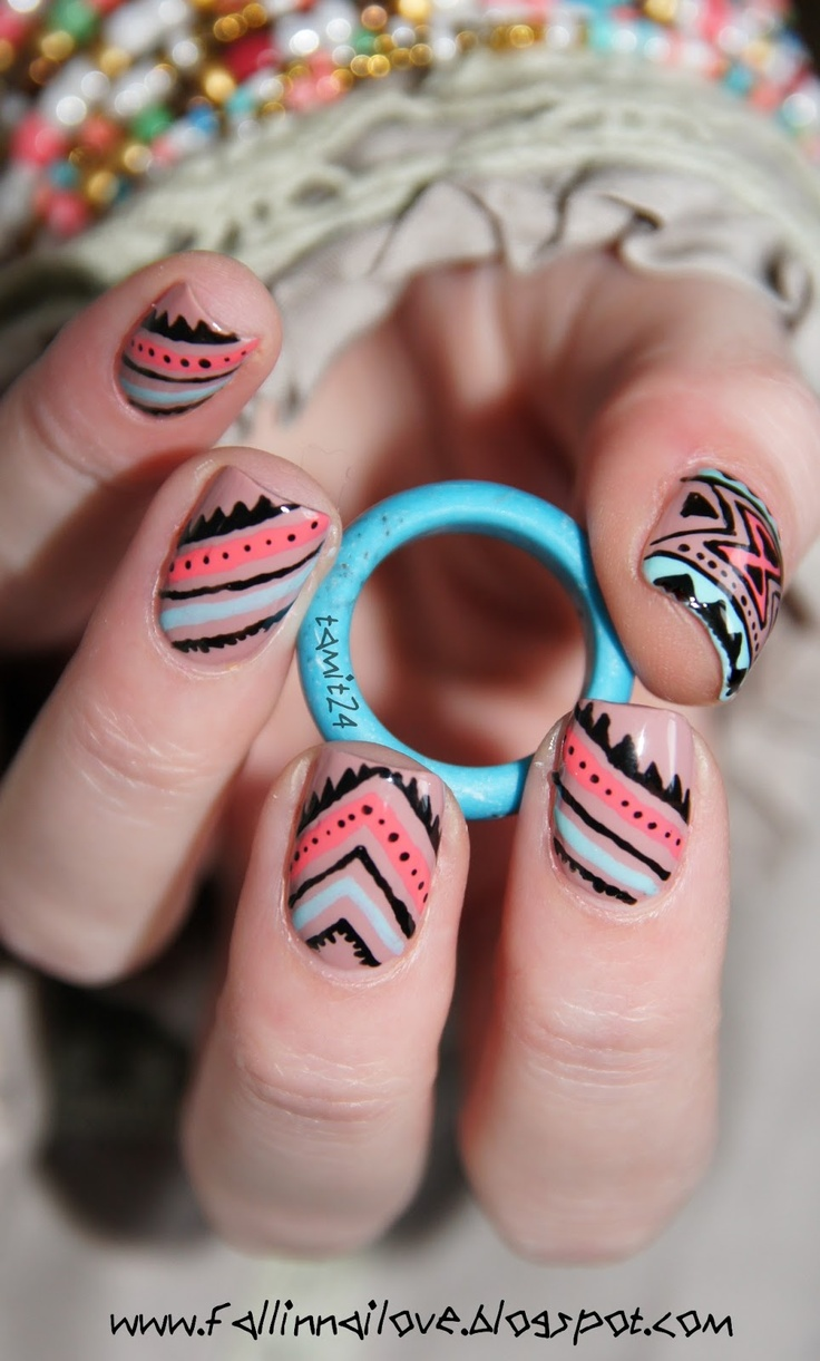 fall in ...naiLove!: Neon aztec nails.