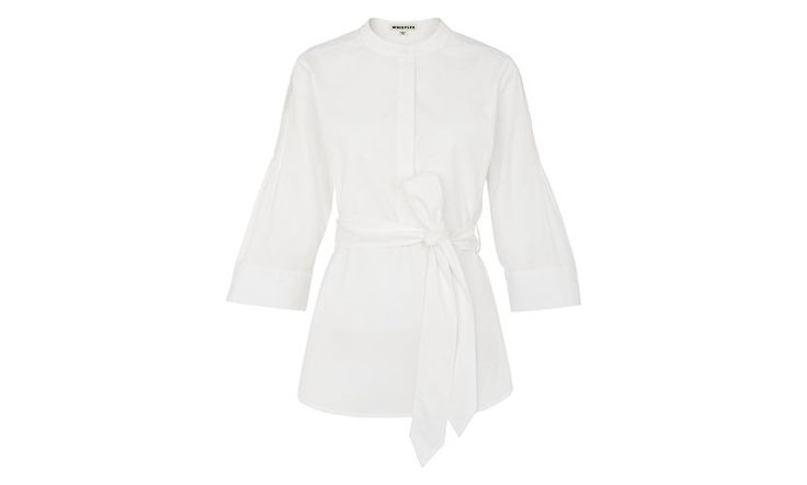 Rosalind Pin Tuck Poplin Shirt, in White on Whistles - with J brand jeans