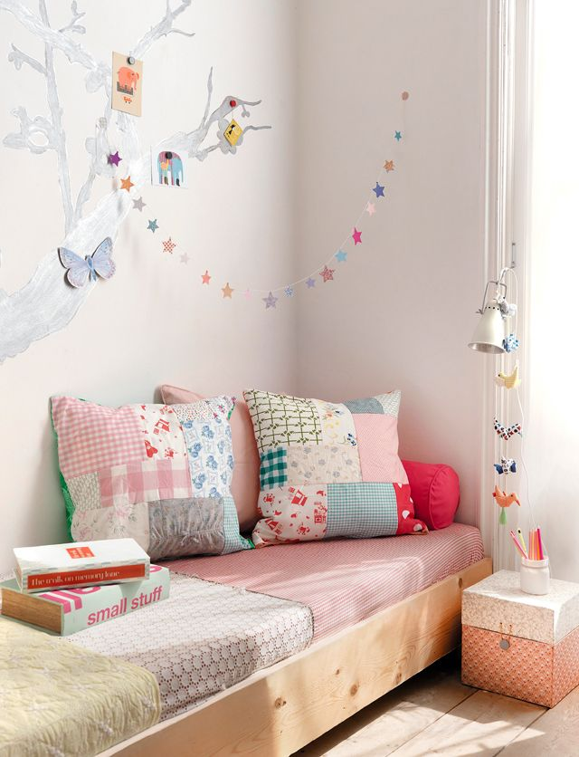 sweet girl's room with DIY pillows