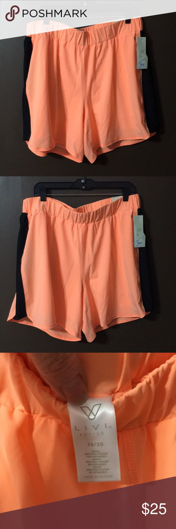 NWT Lane Bryant active shorts NWT Lane Bryant livi active cooling shorts. Hilighter orange with black stripe on sides. Size 18/20, cool touch fabric, 50+upf sun protection, moisture wicking, quick drying,supportive stretch and fade resistant Lane Bryant Pants