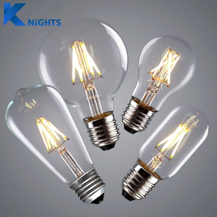 YNL LLEVÓ el Bulbo Edison Vendimia E27 E14 Real vatios 2 W 4 W 6 W 8 W LLEVÓ la Luz del Filamento de La Vendimia LLEVÓ La Lámpara Del Bulbo 220 V Retro Luz de las Velas