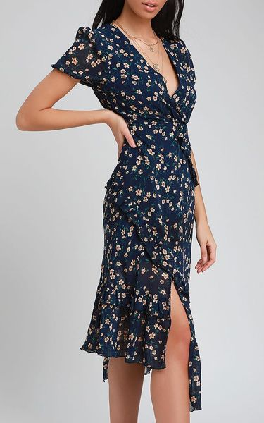 9a3c9beeea7 Petals and Poetry Navy Blue Floral Print Ruffled Midi Dress -  BestFashionHQ.com