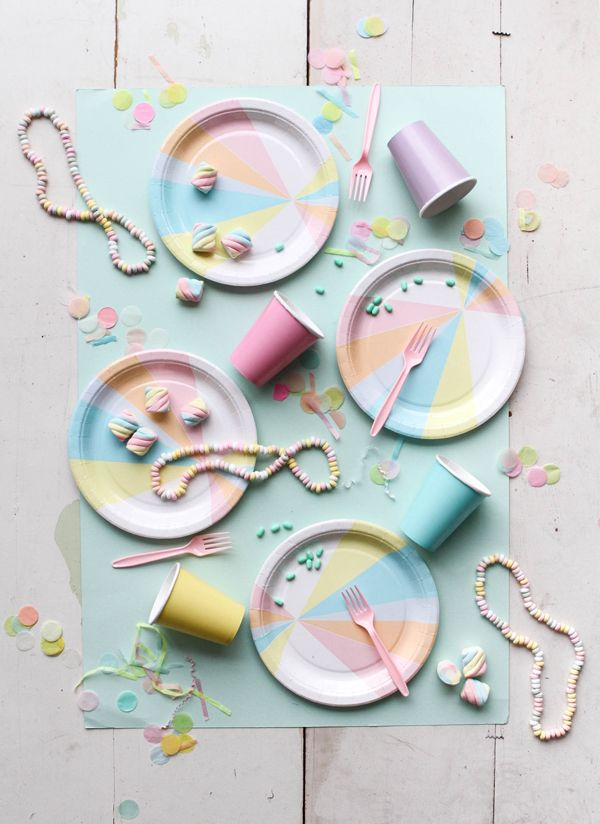 #Pastel is great for a baby shower or any other party! How cute are these #decorations? http://ohhappyday.com/2015/10/a-pastel-party/