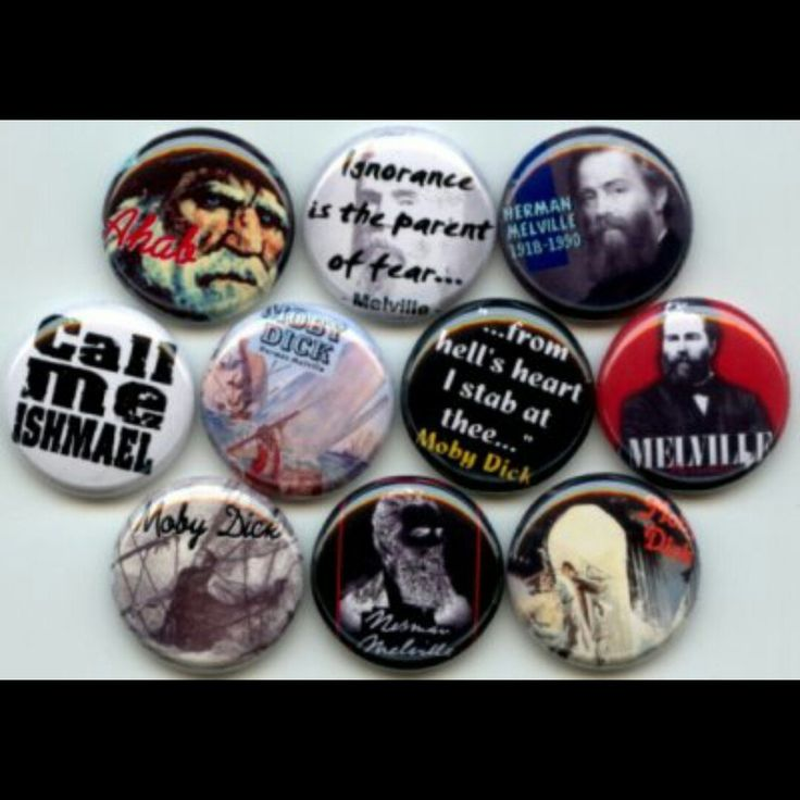 Moby Dick Herman Melville Classic Author Pinback button set by Yesware11 on Etsy.. click for details!