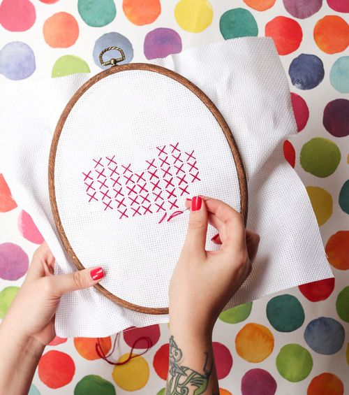 Looking to get started with Cross Stitching? Try this heart out for an easy beginner project.