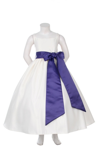 Spahetti Strap Satin Dress with Large Detachable Purple Sash